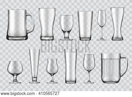 Glasses, Mugs And Wine Glasses, Crockery Set. Beer Tankard, Champagne Flute And Shaker Pint, Snifter