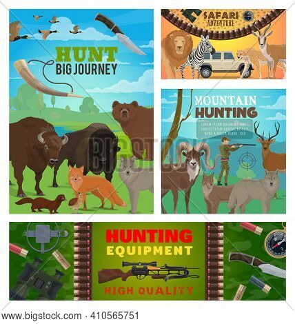 Hunting Sport Animals, Hunter Equipment And Safari Vector Design. Wild Bear, Duck And Deer, African