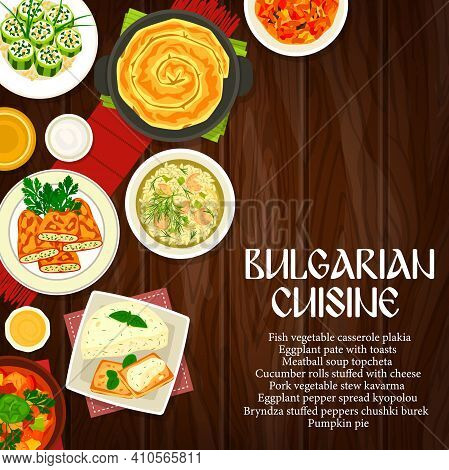 Bulgarian Cuisine Dishes On Wood Background With Vector Vegetable Meat Stew, Bryndza Cheese Stuffed