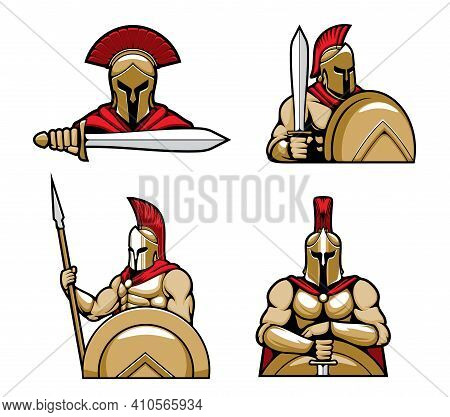 Spartan Warrior Character Mascots Cartoon Vector. Greec Hoplites Standing With Bronze Shield, Wearin