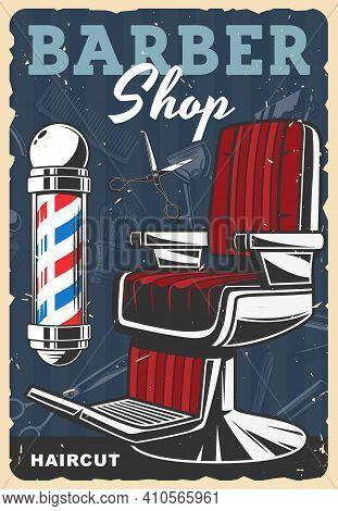 Barber Shop Retro Poster. Mens Hairdresser, Haircut Stylist Salon Vintage Banner. Barber Shop Classi