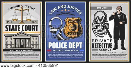 Law And Justice Institutions Retro Banners. State Court, Police Department And Private Detective Age