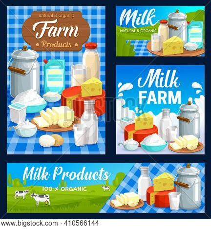 Dairy Farm Food Products, Milk And Butter, Cheese And Yogurt, Vector. Agriculture And Natural Organi