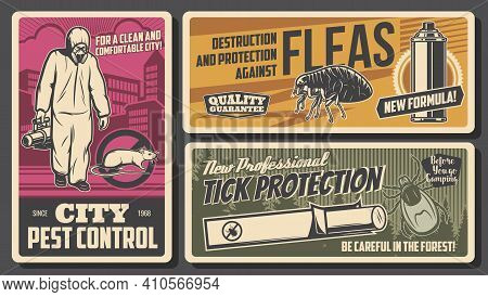 City Pest Control Service, Protection Against Parasite Insects Poster. Pest Control Worker In Protec