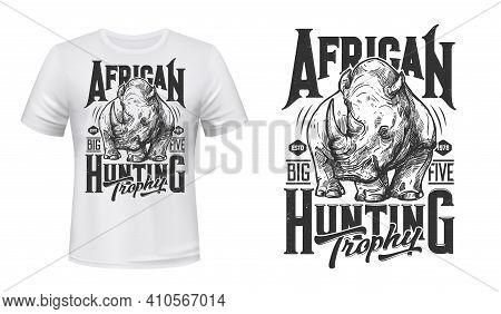 African Rhino Hunting T-shirt Vector Print. Black Or White Rhinoceros Mascot Engraved Illustration A