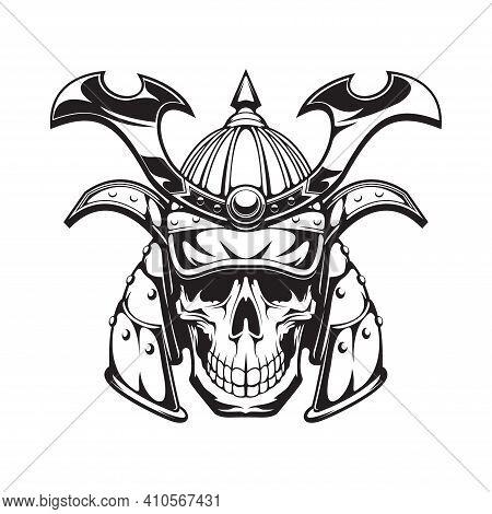 Samurai Warrior Skull Tattoo Or Japanese Mask And Japan Ninja In Helmet, Vector Icon. Japanese Samur
