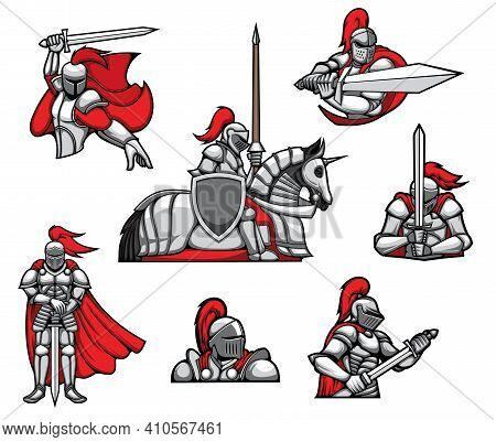 Medieval Knights Warrior Mascots, Heraldry Characters Vector. Knight In Armor, Red Cape And Helmet W