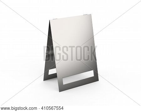 Metallic Pavement Signboard Mockup, Outdoor Advertising Pos Poi Stand Banner Mock Up Template On Iso