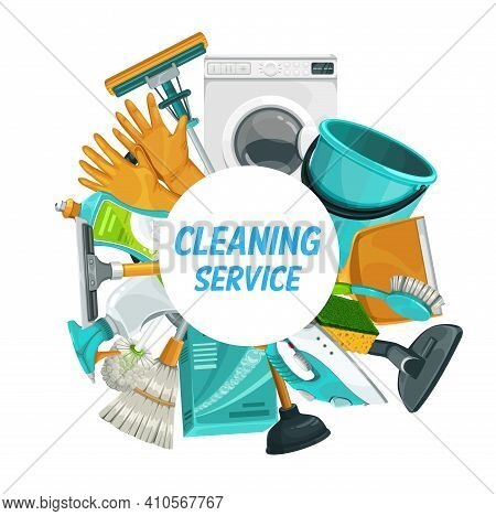 House Cleaning Service, Home Laundry And Housework Cleaners, Vector Banner. Clean Home Service, Hous
