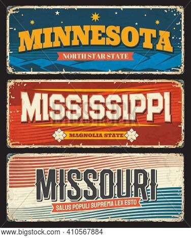 Usa Mississippi, Minnesota And Missouri America States Plates And Vector Retro Signs. Us American St