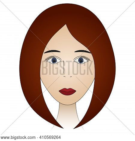 Womans Face. Lady Full Face. Colored Vector Illustration. Cute Brunette With Blue Eyes. Long Eyelash