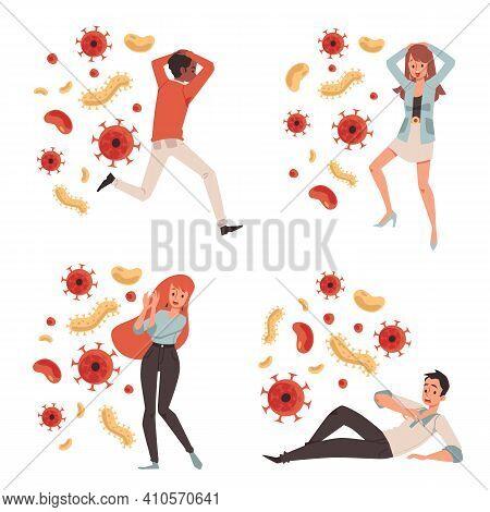 Vector Illustration Isolatemen And Women Characters Afraid Of Viruses, Flat Vector Illustration Isol