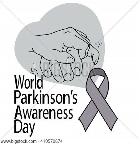 World Parkinson's Awareness Day, Support Hand, Gray Ribbon And Lettering, For Design Information Pos