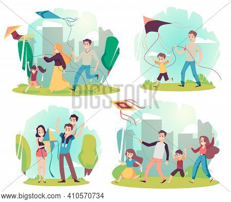Set Of Scenes With Happy Family Parents And Kids Having Fun With Flying Kite.
