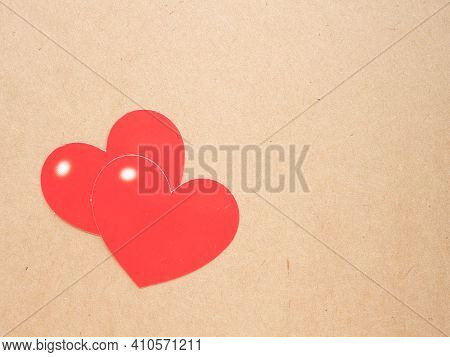 Two Red Heart On Craft Paper Background. Concept Love, Greeting Card, Banner, Poster. Colse Up With