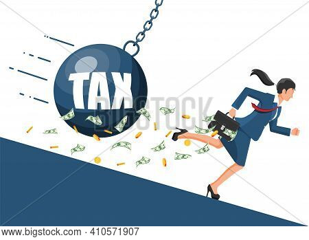 Businesswoman Running Away From Huge Tax Pendulum. Business Woman With Briefcase And Wrecking Ball.