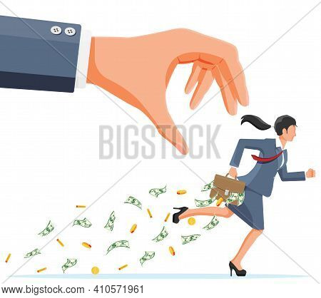 Hand Tries To Grab The Briefcase Of Money Running Businesswoman. Stealing Money, Tax, Debt, Fee, Cri