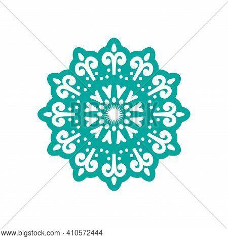 Decorative Beautiful Mandala Element Oriental, Round Mandala With Cyan Color And Unique Design.