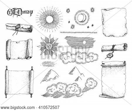 Nature Engraving Elements And Antique Scrolls And Old Paper. Sketchy Style Illustration. Vintage. Ha