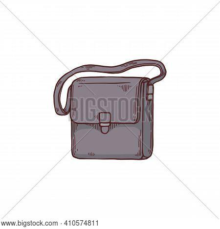 Post Or Envelope Bag With Shoulder Strap, Cartoon Vector Illustration Isolated.