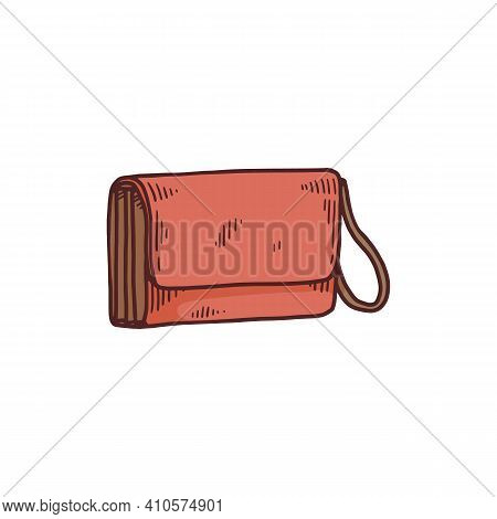 Womens Envelope Bag With Loop Strap, Cartoon Vector Illustration Isolated.
