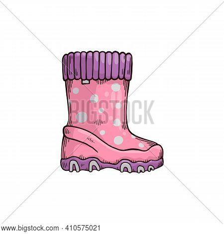 Garden Gumboots Or Wellie Boot, Sketch Cartoon Vector Illustration Isolated.