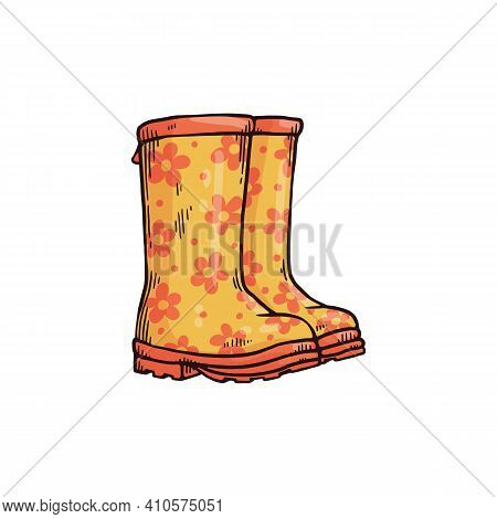 Yellow Wellies With Flower Pattern For Rainy Weather In Autumn Or Spring Season.