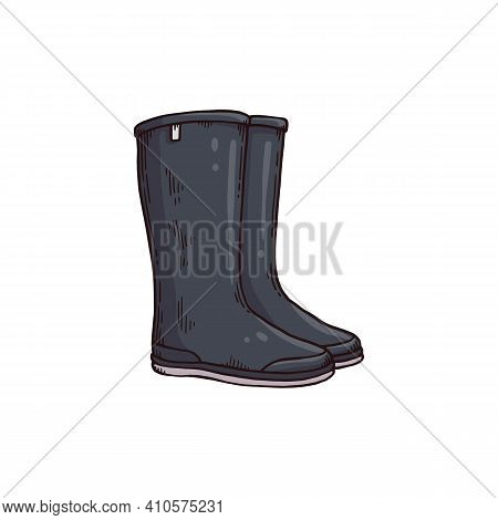 Black Gumboots Or Wellies Cartoon Icon, Engraving Vector Illustration Isolated.