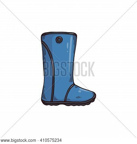 Blue Garden Gumboots Or Rain Welly Boot, Sketch Vector Illustration Isolated.