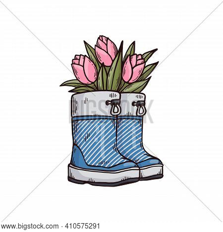 Gumboots Or Wellies With Tulips Flowers Cartoon Vector Illustration Isolated.