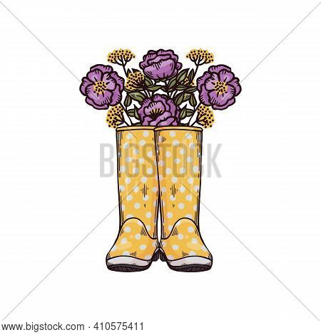 Fashion Spring Or Autumn Wellies With Flowers A Vector Hand Drawn Illustration
