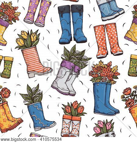 Colorful Seamless Pattern With Wellies Rubber Boots, Spring And Autumn Bouquets.