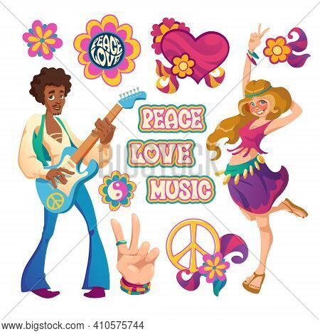 Hippie People, Signs Of Peace, Love And Music. Vector Cartoon Set Symbols Of Hippy Culture With Hear