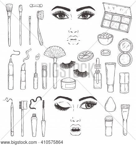 Fashion Cosmetic Tools For Female Glamour Makeup A Set Of Vector Illustrations