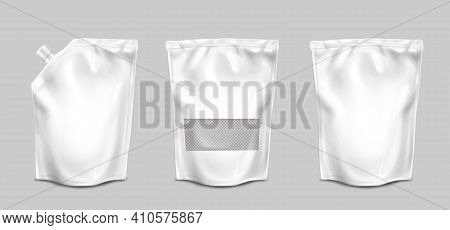 Doypack, Pouch Paper Or Foil Bags With Nozzle And Transparent Surface Front View. Doy Pack, Sachet W