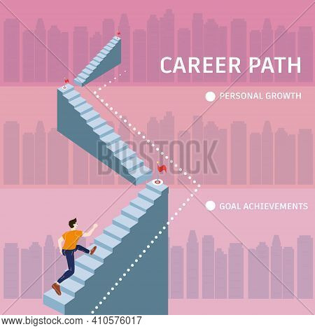 Young Man Running Up Stairway To Target Career Path. Cuccessful Choice Employeeman Move Up Path Succ