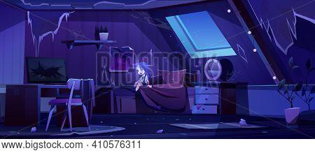 Girl Ghost In Old Bedroom On Attic At Night. Vector Cartoon Interior Of Mansard Room With Broken Fur