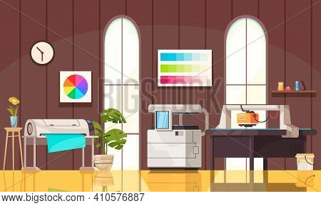 Modern Equipment For Publishing In Printing House Office Cartoon Vector Illustration