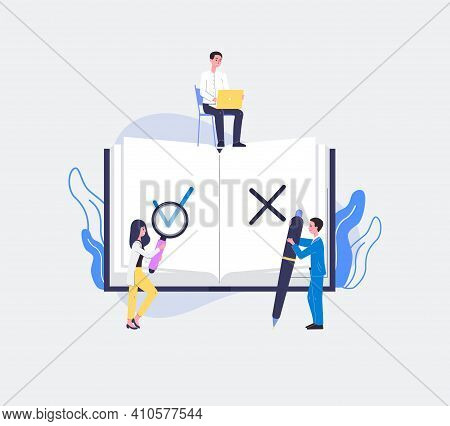 Regulatory Compliance With Business People, Flat Vector Illustration Isolated.