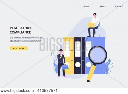 Web Banner Regulatory Compliance With Business People, Flat Vector Illustration.