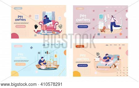 Pet Owners Landing Page Template Set. Happy People, Family With Cat And Dog At Home. Kitty With Owne