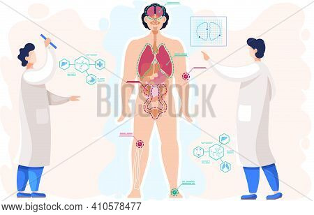 Examining Body Of Patient. Detailed Information On Organs Functioning. Anatomical Structure Of Human
