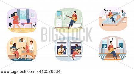 Set Of Illustrations About Musicians Practice Their Guitar Skills At Home. Performers Play Chords. G
