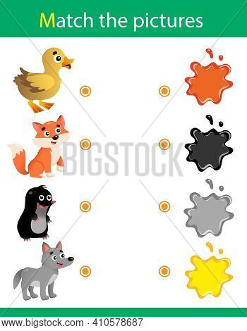 Match By Color. Puzzle For Kids. Matching Game, Education Game For Children. What Color Are The Anim