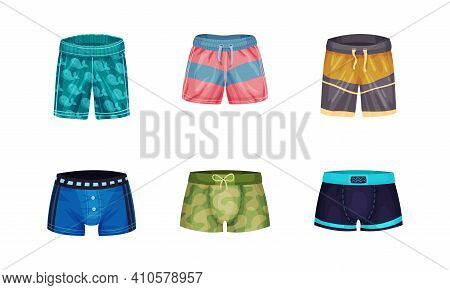 Loose-fitting Male Brief Shorts And Swimming Trunks Vector Set