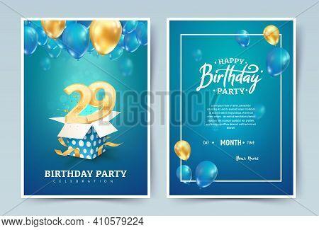 29 Th Years Birthday Vector Invitation Double Card. Twenty Nine Years Anniversary Celebration Brochu