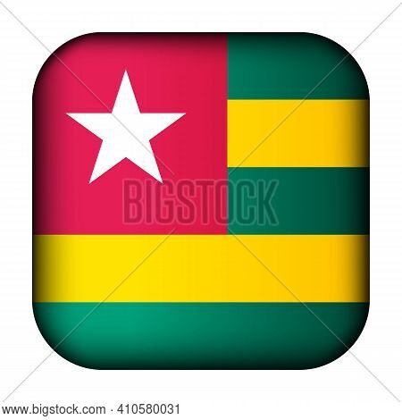 Glass Light Ball With Flag Of Togo. Squared Template Icon. National Symbol. Glossy Realistic Cube, 3