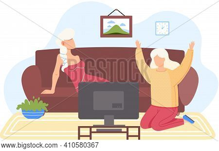 Women Watching Television In Living Room Vector Illustration. Female Characters Rest Sitting On Sofa