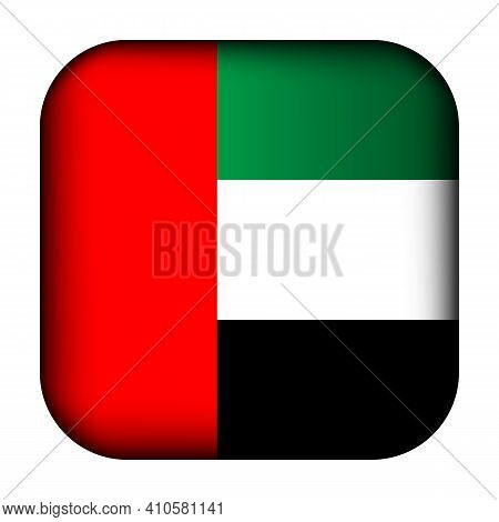 Glass Light Ball With Flag Of United Arab Emirates. Squared Template Icon. Arabian National Symbol.