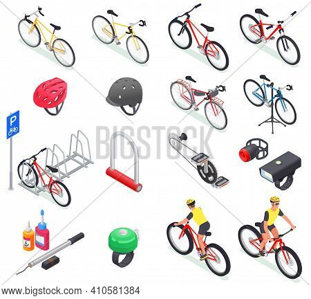 Bicycle Isometric Set Of Isolated Icons Of Bikes Of Different Models Helmets Lubricants And Parking